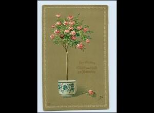 W8S38/ Namenstag Blumentopf Litho Prägedruck AK 1910