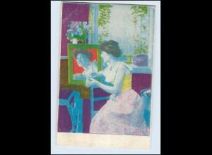 """W8V77/ Frau und Spiegel Künstler AK Das"""" Kleine Witzblatt"""" 1903"""