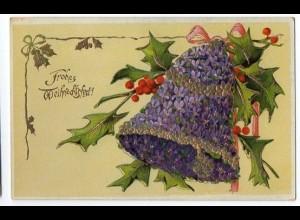 W8U54/ Weihnachten Glocke schöne Litho Glanz AK 1911