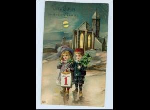 W8S96/ Neujahr Kinder Kirche Litho Prägedruck AK 1911