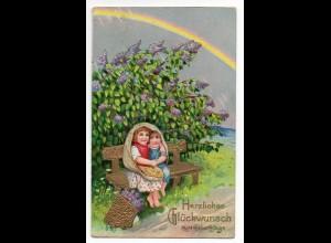 W8U60/ Geburtstag Kinder im Regen Regenbogen Litho Glanz AK ca.1910