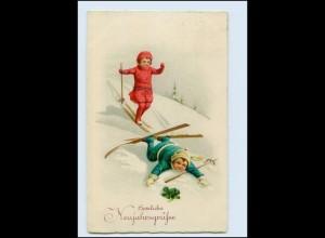 W8T48/ Neujahr Kinder fahren Ski Litho AK 1931