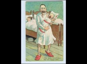 W8L85/ Vater und Baby HUmor Litho AK Nachttopf ca.1912