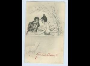 W8K81/ Ostern Künstler AK Paar mit Hase 1911