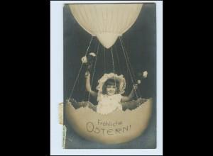 W8K84/ Ostern Mädchen Osterei-Ballon Foto AK 1908