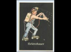 "W8J55/ Bergbau Humor AK Elektrohauer - ""Lustige Gezähekiste"" ca.1955"