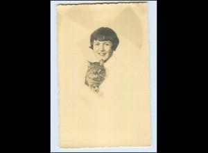 W8G10/ Mädchen und Katze Fotomontage Foto AK 1929