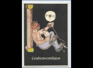 "W8J40/ Bergbau Humor AK Grubenventilator - ""Lustige Gezähekiste"" ca.1955"