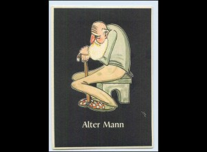 "W8J42/ Bergbau Humor AK Alter Mann - ""Lustige Gezähekiste"" ca.1955"