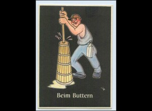 "W8J41/ Bergbau Humor AK Beim Buttern - ""Lustige Gezähekiste"" ca.1955"