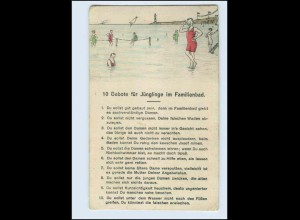 W8F06/ 10 Gebote für Jünglinge im Familienbad Humor AK ca.1925
