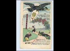 W8E76/ Die letzten Briefmarken v. Württenberg 1902 Litho AK Der Michel