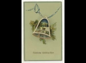 W8A71/ Weihnachten Glocke schöne Litho Glanz AK 1913