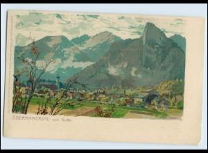 W7Y61/ Oberammergau schöne Litho AK Zeno-Diemer 1909