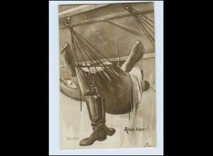 W7U99/ Marine Humor Künstler AK Blessfeld 1916 + MSP Schiffspost