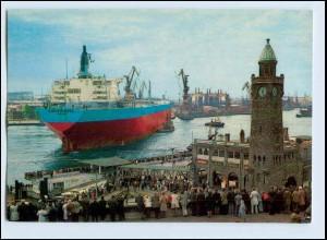 W7X42/ Hamburg Hafen Tanker Romö Marsk Odense wird eingedockt AK ca.1970
