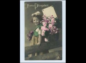W7U32/ Pfingsten Mädchen mit Blumenkorb schöne Foto AK 1910