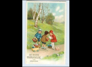 W7T19/ Geburtstag Kinder mit Spielzeug Litho AK ca. 1925