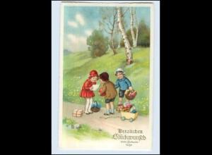 W7T18/ Geburtstag Kinder mit Spielzeug Litho AK ca. 1925