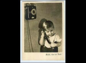 W7Q91/ Kind mit Telefon schöne Foto AK 1942