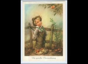 W7Q90/ Cekade AK Junge und Apfel ca.1950