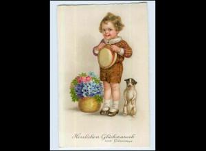 W7T62/ Geburtstag Kind mit Hund schöne Litho AK ca. 1925