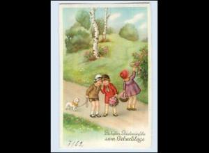 W7T20/ Geburtstag Kinder mit Hund Litho AK ca. 1925