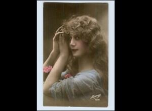 W7P83/ Mesange - hübsche Frau lange Haare Frisur Foto AK ca.1912