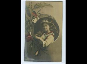 W7P87/ Junge Frau bei der Ernte Fotomontage Foto AK 1909