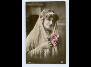 W7P81/ M. Elly hübsche Frau mit Haarmschmuck Schleier Foto AK ca.1908