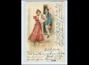W7K86/ Tempi Felici: I primi fiori - schöne Litho AK 1904