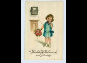 W7Q53/ Geburtstag Mädchen mit Telefon Litho AK 1930