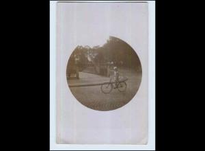 W7Q69/ Mädchen mit Fahrrad Privat Foto AK ca.1920