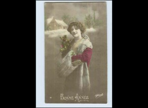 W7P85/ Bonne Annee Frau mit Muff und Pelzstola Foto AK 1913