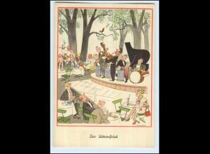 W7J50/ Will Halle AK - Der Störenfried Musikkapelle - Humor ca. 1955
