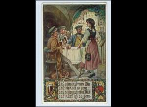 W7H87/ VDA Deutschtum AK Studenten trinken Bier 1912
