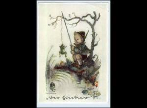 W6W09/ Hummel AK Kind angelt Frosch Verlag: J. Müller 1940