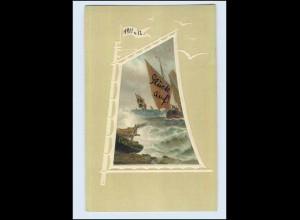 W7B74/ Meissner & Buch Litho Präge AK Segelboote 1911 (b)