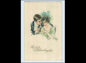 W7E96/ Weihnachten Künstler Litho AK Schilbach Paar mit Ring ca. 1912