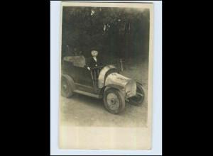 W7H78/ Kind im Spielzeugauto Privat Foto AK ca.1912