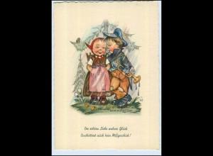 W6X54/ Hanitzsch AK Kinder im Regen ca. 1955