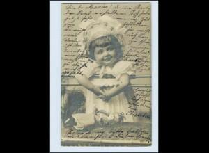 W7B68/ Mädchen mit Puppe Foto AK 1905 (b)