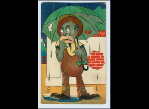 W6W64/ Schwarzer Mann im Regen schöne AK 1917
