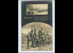 W6S11/ Artillerielied Soldaten mit Pickelhaube und Gewerh 1. Weltkrieg Foto AK
