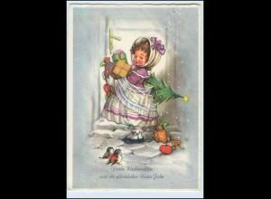 W6Q30/ Weihnachten Mädchen Kind bringt Geschenke AK 1963