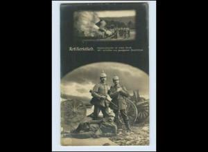 W6S09/ Artillerielied Soldaten mit Pickelhaube und Gewerh 1. Weltkrieg Foto AK