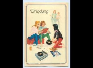 """X1C70/ Teenager mit Plattenspieler Schallplatten """"Einladung"""" AK ca. 1970"""