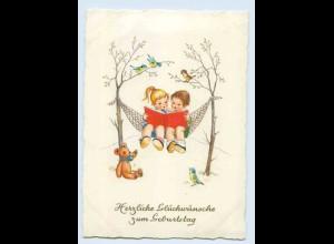 X1C73/ Geburtstag Kinder in der Hängematte, Teddy, Vögel 1962 AK