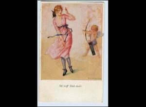 A0192/ Junge Frau und Amor schöne Künstler AK 1920