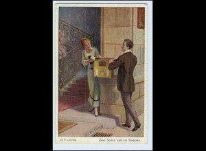 A0271/ Künstler AK Paar am Briefkasten ca.1912 Noris-Kunstverlag